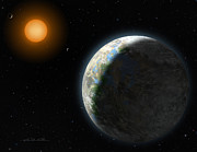 Exoplanet Painting Metal Prints - Gliese 581 g Metal Print by Lynette Cook