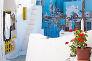 Typical Framed Prints - Glimpse of typical white houses in Oia Santorini Greece Framed Print by Matteo Colombo