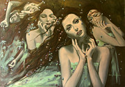 Live Art Painting Prints - Glissando Print by Dorina  Costras