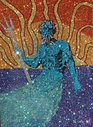 Neptune Mixed Media Prints - Glitter Art Poseidon Print by Richard Ian Cohen