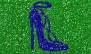 High Heeled Digital Art Posters - Glitter Blue Heel Poster by Anna Gant