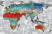 Earth Map Paintings - Global map by Georgi Dimitrov