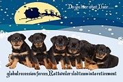 Puppies Digital Art - Global Recession Forces Christmas Sled Team Into Retirement by Tracey Harrington-Simpson