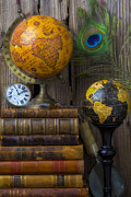 Binding Photo Framed Prints - Globes and old books Framed Print by Garry Gay