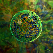 Spheres Digital Art - Globing Earth Irises by Robin Moline