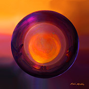 Ornamental Digital Art Posters - Globing the Setting Sun Poster by Robin Moline