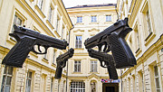 Town Square Prints - Glock Courtyard - Prague Print by Jon Berghoff