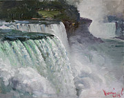 Falls Paintings - Gloomy Day at Niagara Falls by Ylli Haruni