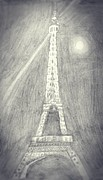 Eiffel Tower Drawings Metal Prints - Glorious Eiffel Tower Shining At Night Metal Print by Manasa Patapatnam