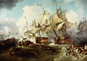 Shipwreck Paintings - Glorious First of June or Third Battle of Ushant between English and French by Anonymous