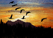 Canadian Geese Pastels - Glorious Mountain by R Kyllo