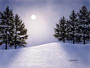Winterscape Painting Originals - Glorious Night by Frank Wilson