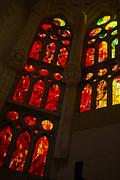 Glorious Reds And Yellows - Sagrada Familia Stained Glass Windows Print by Georgia Mizuleva