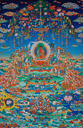 Tibetan Buddhism Paintings - Glorious Sukhavati Realm of Buddha Amitabha by Art School