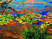 Hommage Prints - Glorious Water Lilies Banks Of The Lachine Canal Montreal Summer  Scenes Art Carole Spandau Print by Carole Spandau