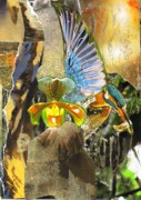 Kingfisher Mixed Media - Glory be to God for Dappled Things by Jillian Goldberg