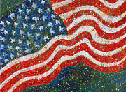 Patriotic Paintings - Glory Original American Patriotic Contemporary Acrylic Flag Painting by Wendy Middlemass