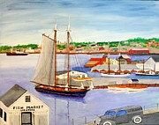 Harbor Drawings Originals - Gloucester Fish Mkt. and Schooners 1939 by Bill Hubbard