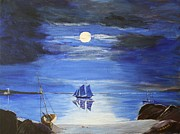 Bill Hubbard Posters - Gloucester Harbor by Moonlight Poster by Bill Hubbard