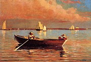 Row Boat Prints - Gloucester Harbor Print by Winslow Homer