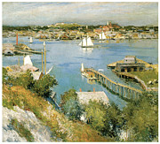 Boats In The Harbor Prints - Gloucester Harbour Print by William Leroy Metcalf
