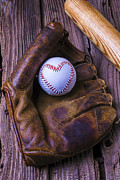 Glove And Heart Baseball Print by Garry Gay