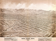 Vintage Map Paintings - Glovers map of Salt Lake City 1875 by MotionAge Art and Design - Ahmet Asar