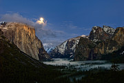 Jamie Pham Metal Prints - Glow - Moonrise over Yosemite National Park. Metal Print by Jamie Pham