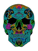 Scull Posters Framed Prints - Glow Scull Framed Print by Mauro Celotti