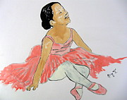 Little Girls Mixed Media Prints - Glowing Ballerina Print by Erin T