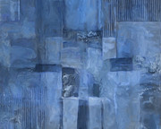 Drips Paintings - Glowing Blues by Lee Ann Asch