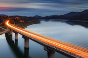 Traffic Tapestries Textiles Prints - Glowing Bridge Print by Evgeni Dinev