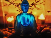 Tibet Mixed Media Prints - Glowing Buddha Print by Todd and candice Dailey