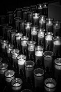 Religious Photo Prints - Glowing candles in a church Print by Edward Fielding