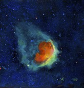Outer Space Painting Originals - Glowing Emerald Nebula by Jim Ellis