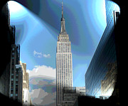 Midtown Digital Art Framed Prints - Glowing Empire Framed Print by Pamela Briggs-Luther