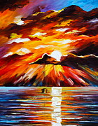 Waterscape Painting Framed Prints - Glowing Sun Framed Print by Leonid Afremov