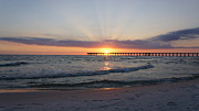 Florida Sunset Framed Prints - Glowing Sunset Framed Print by Sandy Keeton