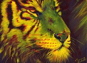 Summer Celeste Painting Posters - Glowing Tiger Poster by Summer Celeste