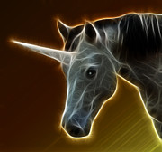 Ears Mixed Media Posters - Glowing Unicorn Poster by Shane Bechler