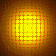 Op Art Digital Art Posters - Glowing Yellow Dots Poster by Stephen Conroy