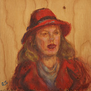 Narrative Portrait Prints - Go Ahead - Make Her Day - Original Painting on Wood Print by Quin Sweetman