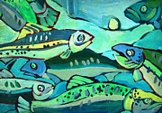 Salmon Photos - Go Fish Green by Fraida Gutovich