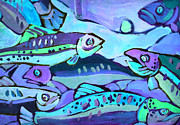 Fish Art Photos - Go Fish Indigo by Fraida Gutovich