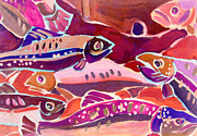 Fish Prints - Go Fish Pink Print by Fraida Gutovich