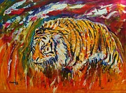 Zoo Mixed Media Prints - Go Get Them Tiger Print by Anastasis  Anastasi