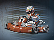 Sports Prints - Go-Kart Racing Grunge Color Print by Frank Ramspott