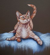 Cat Portraits Pastels Prints - Go on Throw it Again Print by Cynthia House
