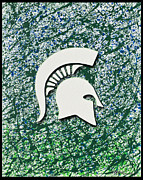 Local Drawings Posters - Go Spartans Poster by Lance Graves