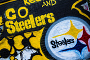 Graffiti Posters - Go Steelers Graffiti Poster by Amy Cicconi